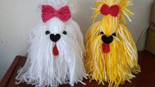 Cachorrinho de Lã com Pote de Maionese