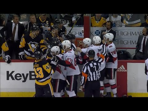 Smith jumps Penguins' bench after Malkin's slash & cross-check
