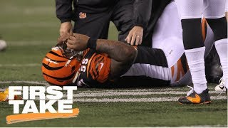 First Take reacts to JuJu Smith-Schuster's hit on Vontaze Burfict during MNF | First Take | ESPN thumbnail