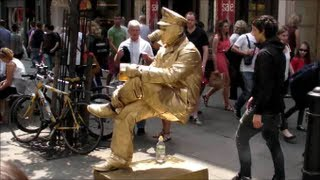 Man Sitting on Nothing. Floating and Levitating. London. Street Performance and Street Art
