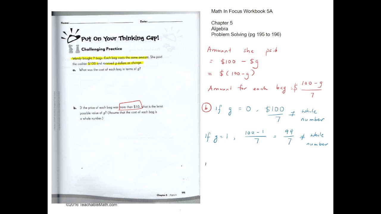 MIF Workbook 5A solutions chapter 5 Algebra Pg195 and 196