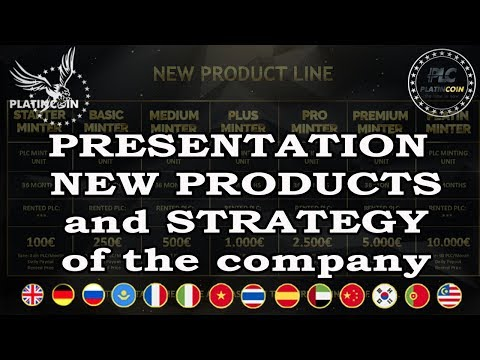 PLATINCOIN. PRESENTATION  NEW PRODUCTS and STRATEGY of the company
