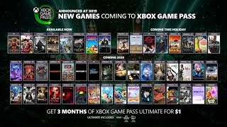 Xbox Game Pass - Announcing New Games  X019   Xbox/pc Games 2019/2020