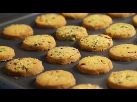How To Make Cookies   Eggless Saffron Cookie Recipe   Divine Taste With Anushruti