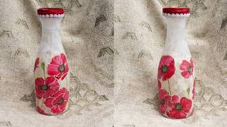 #71 decoupage lesson DIY decoupage bottles vase decoupage on glass tutorial for beginners