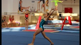 Girl gymnastics floor exercise