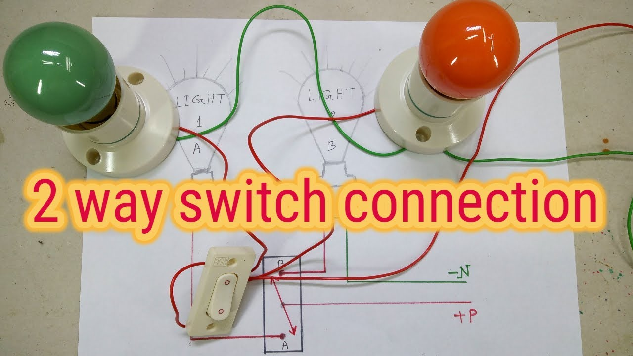 two light one switch connection , 2 way switch , two way switch wiring  diagram - YouTube | Two Lights One Switch Wiring Diagram |  | YouTube