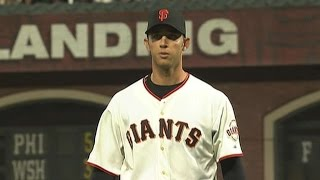 9/8/09: madison bumgarner makes his mlb debut, allowing two runs in 5 1/3 innings while striking out four a no-decisioncheck http://m.mlb.com/video fo...