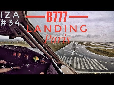 B777 LANDING in Paris, COCKPIT View ILS Runway 26L, Rainy and Foggy weather conditions