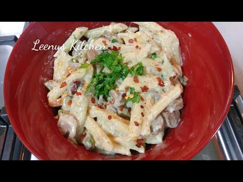 Penne Pasta In White Sauce/Sausage & Mushroom Pasta In White Sauce|Easy Pasta Recipes-EP 18