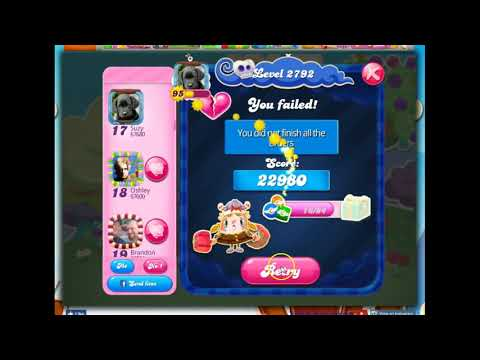Candy Crush Level 2792 Talkthrough, 16 Moves 0 Boosters