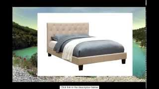 Furniture Of America Roy Fabric Platform Bed With Button Tufted Headboard Design Queen Ivory
