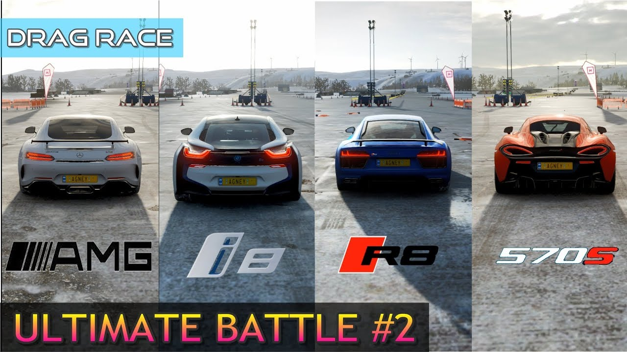 Ultimate Drag Race Audi R8 2016 Vs Mclaren 570s Vs Bmw I8 Vs