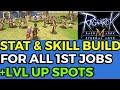 Status & Skill build + Grinding spot till 2nd job for all 1st jobs Ragnarok Mobile Sea server