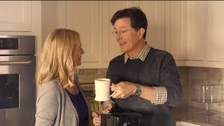 Stephen Colbert And Laura Linney For Yesterday's Coffee