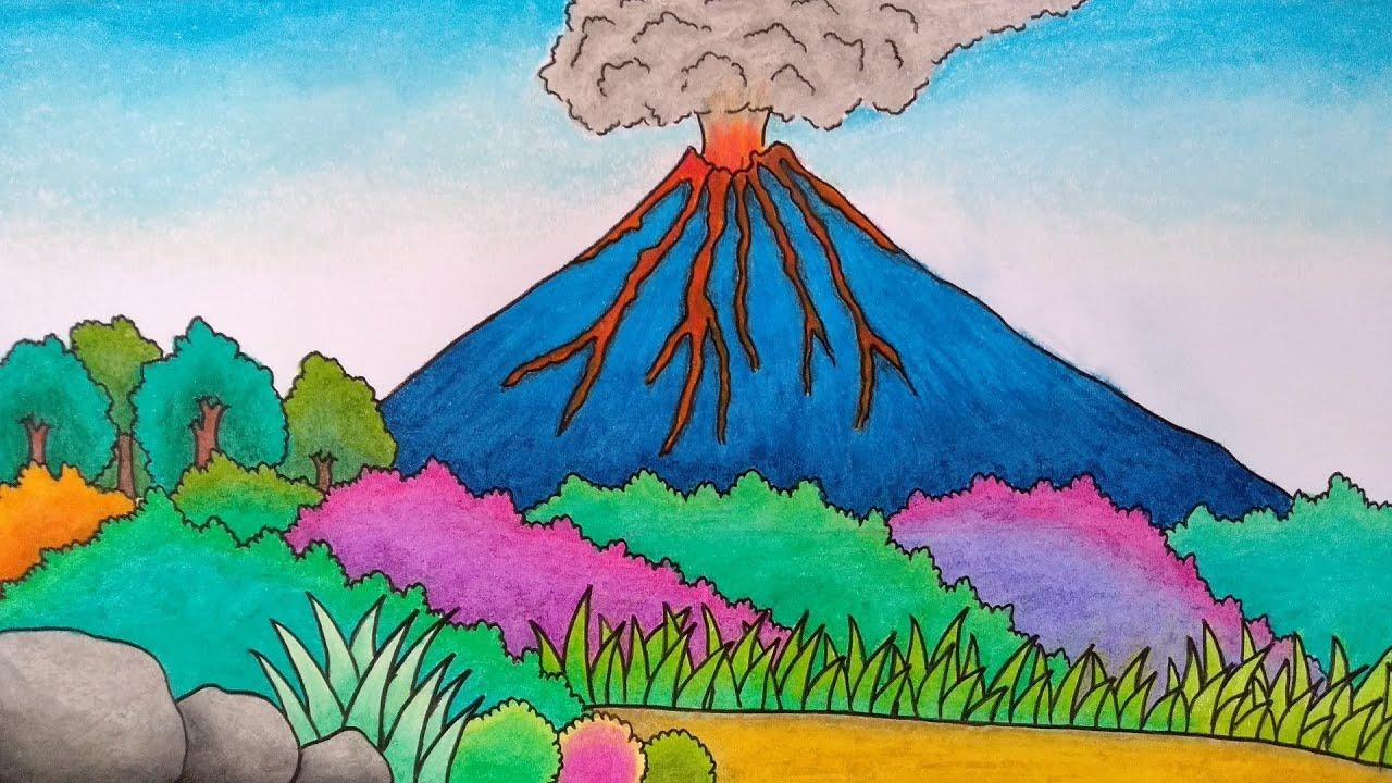 Cara Menggambar Gunung Meletus Menggambar Gunung Merapi Menggambar Pemandangan Gunung Youtube