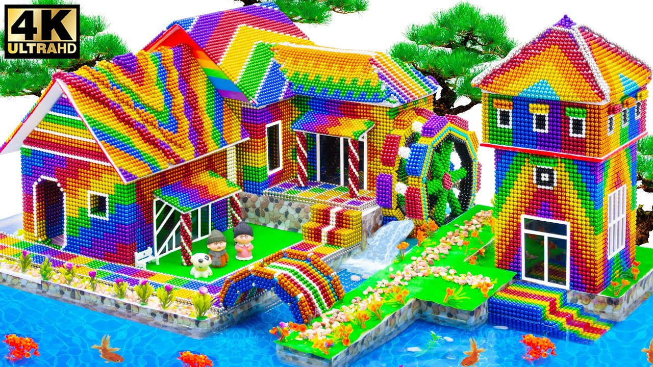Satisfying Relaxing With Magnet   Build Villa House Have Waterwheel Around Fish Pond For Goldfish