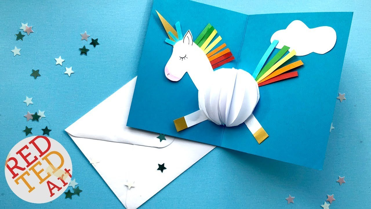 Popup Card Making Ideas Part - 26: Pop Up UNICORN DIY Card Easy Card Making Ideas