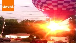 Hot Air Balloon Crashes Into Power Lines