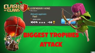 NEW WORLD RECORD -2019 - WORLD'S BIGGEST TROPHY ATACK AGAINST LEGEND LEAGUE - CLASH OF CLANS