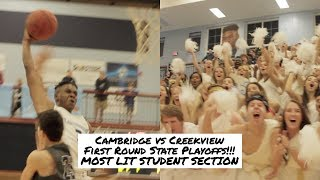 Cambridge vs Creekview First Round State Playoffs!!! MOST LIT STUDENT SECTION