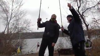 Песчанный карьер 13 Дек 20г Запорожье Рыбалка в дождь с ветром