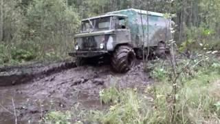 Газ 66 на арочных колёсах, дорога на рыбалку г Луга off-road 4x4