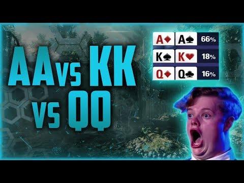1 in 10 Million Impossible Poker Hand - AA VS KK VS QQ