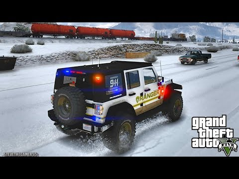 GTA 5 MODS LSPDFR 998  - PARK RANGER SNOW PATROL!!! (GTA 5 REAL LIFE PC MOD)