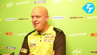 Michael van Gerwen REACTS to claiming Semi-Final spot in Champions League of Darts