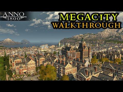 Anno 1800 MEGACITY Walkthrough Crown Falls || City Builder Strategy Fully Modded 2021