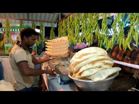 Street food Poppadom or Urad Papad or Papadam | Local food process | Green chili bajji recipe