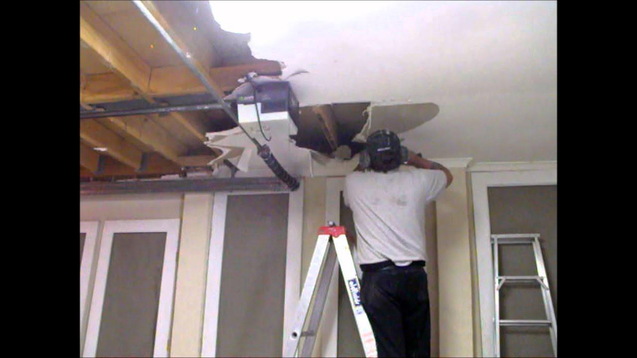 Preparing a water damaged plasterboard garage ceiling