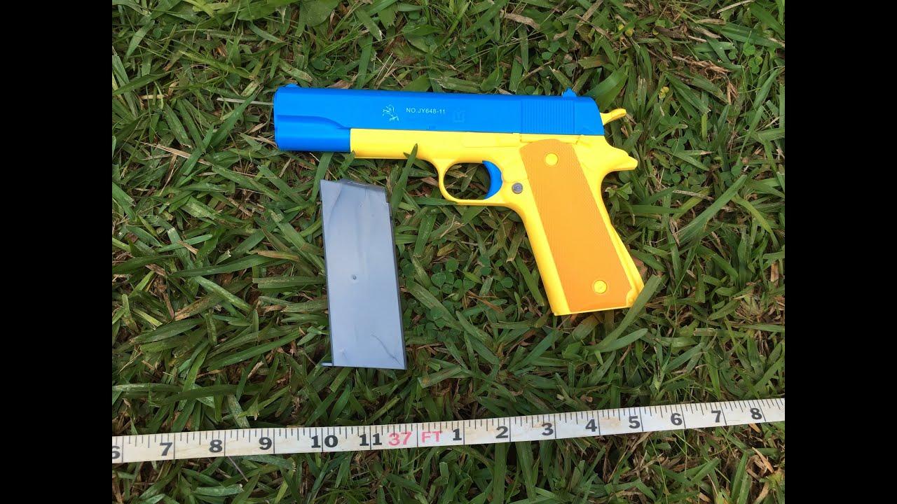 1911 Colt 45 Rubber Bullet Toy Gun Range Test Youtube