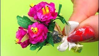 Diy miniature flower │ Miniature flowers bouquet diy │ Easy  flower miniature for doll