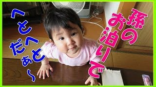 孫の育児は体力が必要だ!1歳0か月の赤ちゃんがおばあちゃん宅にお泊り