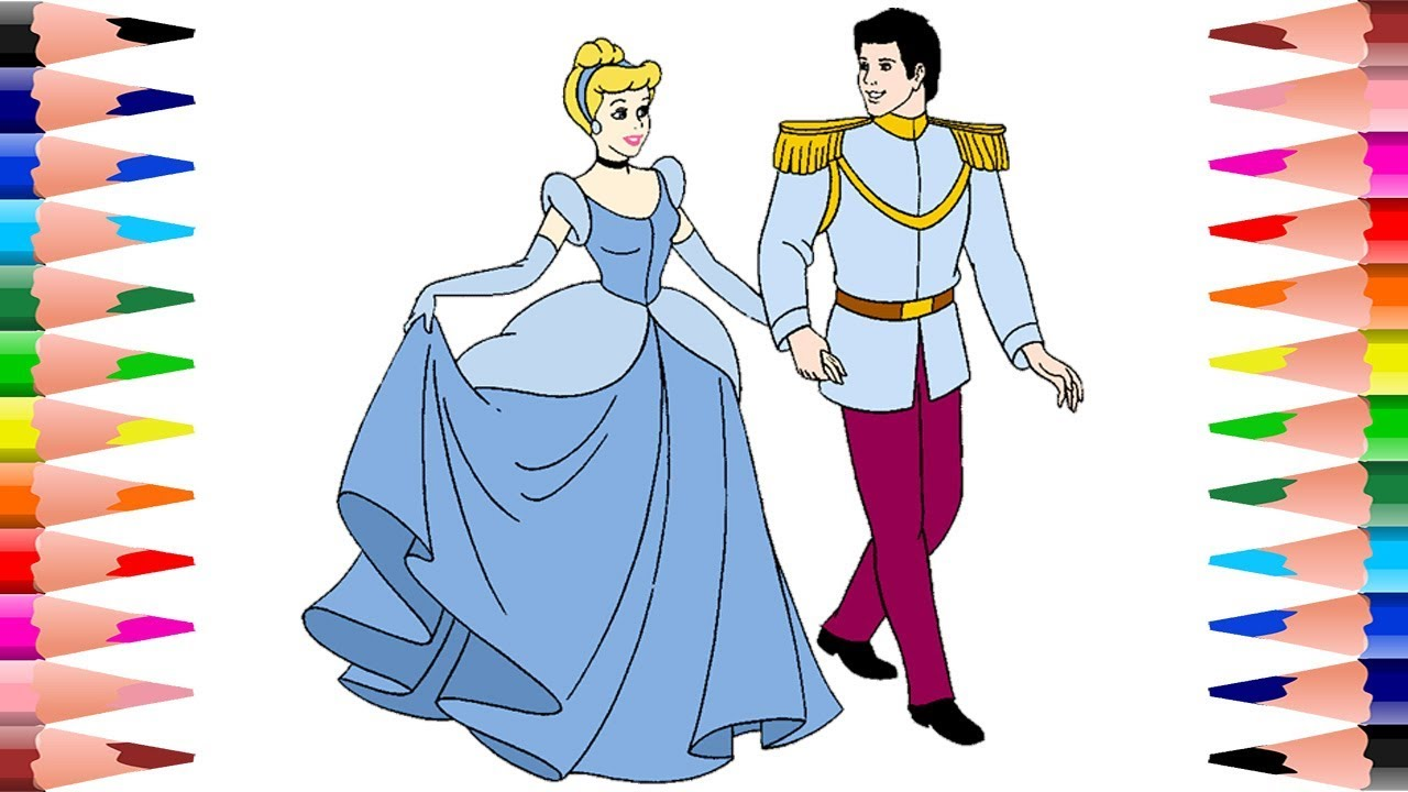 painting disney princess cinderella and prince coloring pages for