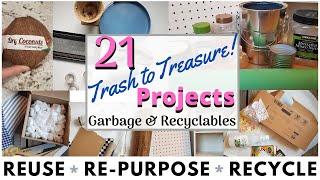 21 DIY RECYCLE CRAFTS 💚 TRASH TO TREASURE 💛 CARDBOARD 💙 GLASS 💜 PLASTIC | RE-PURPOSE & REUSE