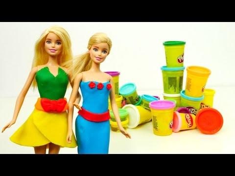Barbie giydirme oyunu. Play Doh hamurdan kıyafetler