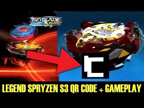LEGEND SPRYZEN S3 QR CODE + BEYBLADE BURST APP GAMEPLAY  ベイブレードバーストアプリ