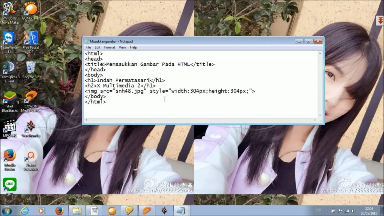 Cara Memasukkan Gambar Ke Dalam Web Html Menggunakan Notepad Youtube
