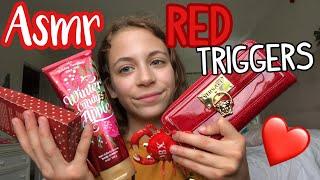 ASMR| Red Triggers: color trigger series❤️