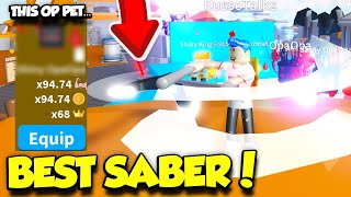 GETTING THE MOST EXPENSIVE SABER AXE AND AN INSANE 5 STAR PET IN SABER SIMULATOR UPDATE! (Roblox)
