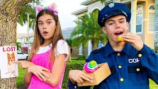 Nastya và Artem chơi với Mia như một cảnh sát. Chỉ ra cách cư xử với một đứa trẻ nhỏ.