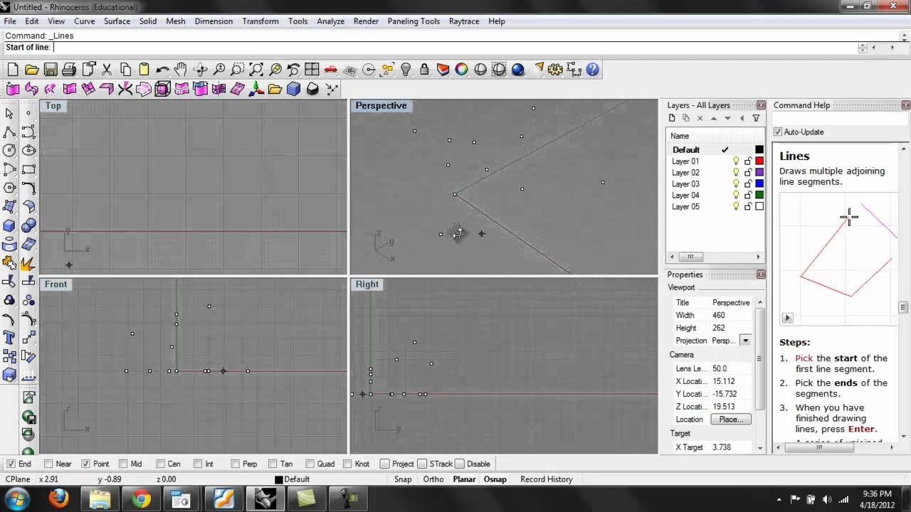 Drawing Lines By Plotting Points : Rhino points curves youtube