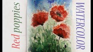 Как научиться рисовать: УРОК 10. Красные маки акварелью