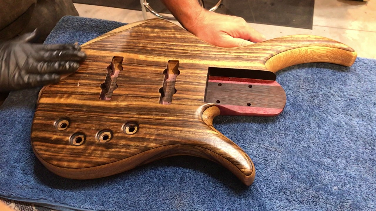 first coat liberon finishing oil to bass guitar body black limba purpleheart wenge youtube. Black Bedroom Furniture Sets. Home Design Ideas