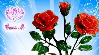 Как сделать розу из бисера? Подробный М.К отОльги М!Легко!!!