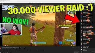 This kid FREAKS OUT after we raid his fortnite stream! (30,000 VIEWERS + 100k V BUCKS!)