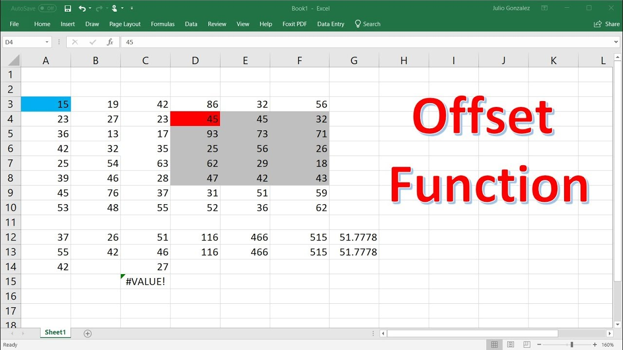 Excel offset Function With Sum & Average Formulas